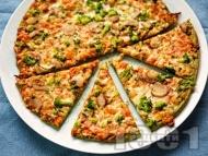 Пица с блат от тиквички и оризово / бадемово / нахутено брашно и плънка с броколи, гъби и моцарела